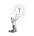 man kneeling praying to god faith prayer concept vector image