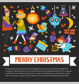 merry christmas happy winter holidays banner with vector image vector image