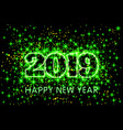 neon green typography happy new year 2019 in vector image vector image