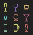 neon light alcohol glasses icons vector image vector image