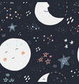 night sky hand drawn color seamless pattern vector image