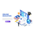 online education design concept with computer vector image
