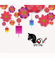 oriental happy chinese new year blooming flowers vector image vector image