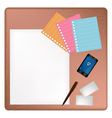Pen and Smartphone on A Blank Page with Envelope vector image vector image