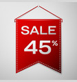 red pennant with inscription sale forty five vector image