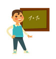 schoolboy stands near chalboard with drawn vector image