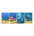 sealife cards ocean animals fish octopus banners vector image vector image
