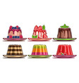 set assorted panna cotta and jelly vector image vector image