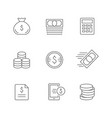 set line icons money vector image vector image