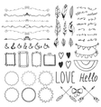 Set of romantic decor elements Hand drawing style vector image vector image