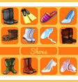 set of shoes for all occasions sketch for holiday vector image