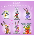 Set of six rabbits on a purple background vector image vector image