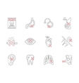 Set of smoking harmful flat line icons vector image vector image