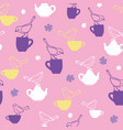 tea party with birds teatime seamless pattern vector image