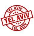 tel aviv red round grunge stamp vector image vector image