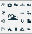 transportation icons set with control parking vector image