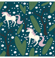 unicorn seamless pattern green background with vector image vector image