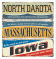 us title north dakota massachusetts iowa vector image vector image