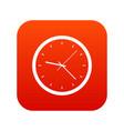 wall clock icon digital red vector image vector image