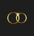 Wedding gold rings icon mockup invitations card vector image