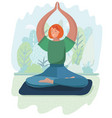 young woman in lotus position is meditating vector image vector image