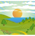 Abstract nature landscape sun sky road vector image