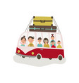 flat travelling vintage minivan car vector image