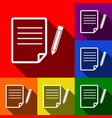 paper and pencil sign set of icons with vector image