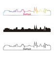 Belfast skyline linear style with rainbow vector image vector image