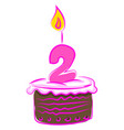 birthday cake with number two on white background vector image vector image