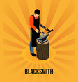 blacksmith isometric concept vector image vector image