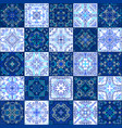 blue tile collection weave patterns vector image