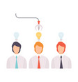 businessmen with light bulbs over their heads vector image vector image