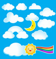 cartoon clouds and sun on blue sky vector image vector image