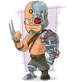 Cartoon cyborg with cool metal vector image