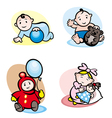 Cartoon girls and boys vector image vector image