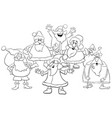 cartoon santa group coloring page vector image vector image