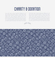 charity and donation concept with thin line icons vector image vector image