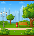 city park bench with trees and town buildings vector image