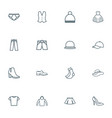 clothes icons line style set with vest evening vector image