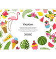 cocktails flamingo palm leaves background vector image