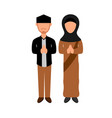 couple greeting moslem people design vector image