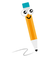Cute happy Pencil mascot isolated on white vector image vector image