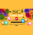 easter sale banner with colorful eggs vector image vector image