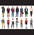 fashion young people in stylish casual clothes vector image vector image