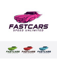 fast car logo design vector image