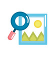 frame picture with magnifying glass icon vector image