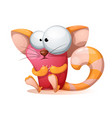 funny cute crazy cartoon characters cat vector image vector image