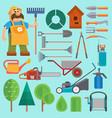 garden equipment and gardener farmer flat vector image