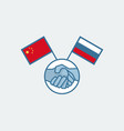 handshake china and russia symbol vector image vector image